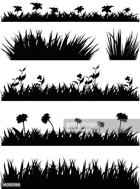 grass silhouette - grass stock illustrations, clip art, cartoons, & icons