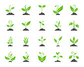 Grass simple color flat icons vector set