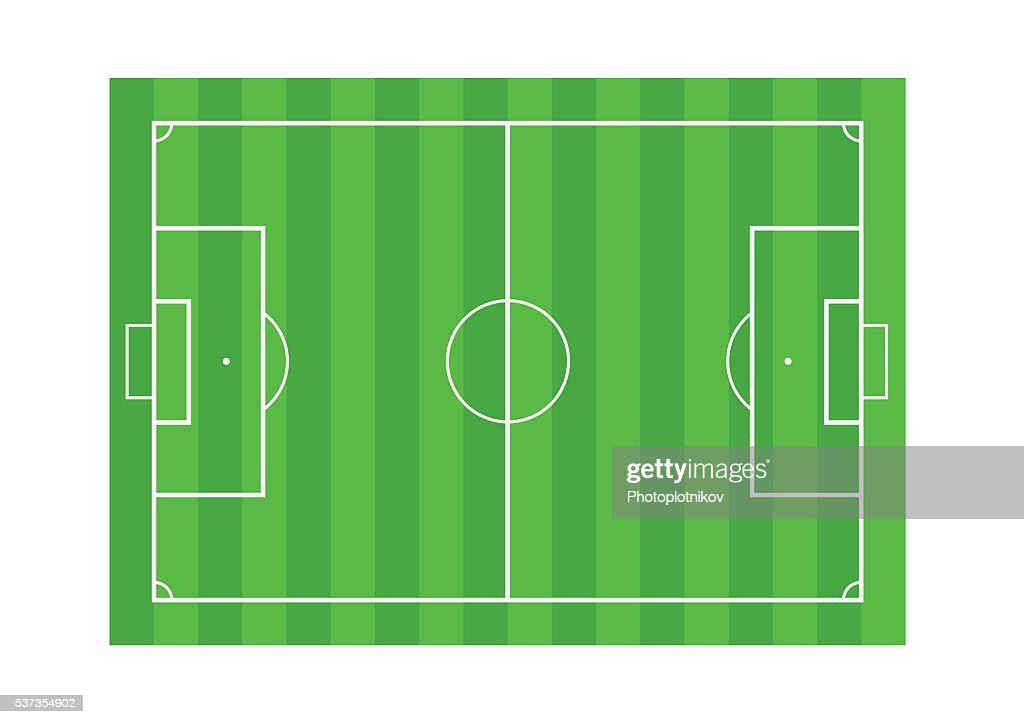 Grass Soccer or Football field isolated on white background