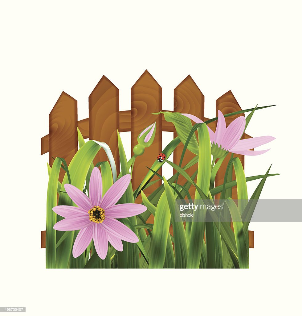 Grass with pink flowers leaf fence vector illustration vector art grass with pink flowers leaf fence vector illustration mightylinksfo