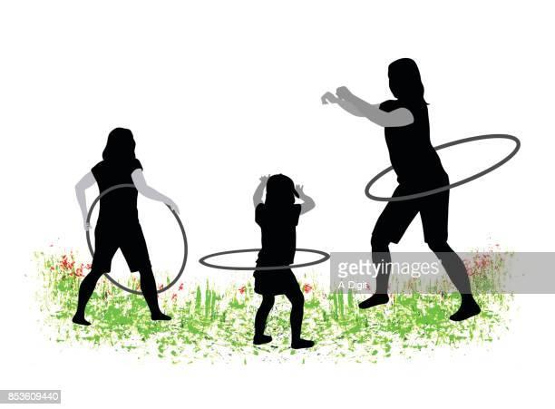 grassy hula hoop fun - plastic hoop stock illustrations