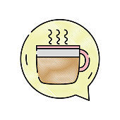 grated hot coffee cup inside chat bubble