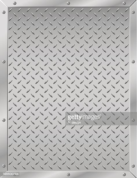 Grated metal diamond plate with screwed in border