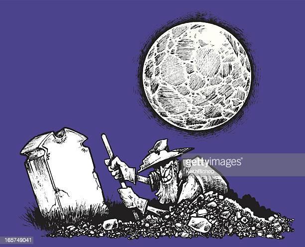 墓堀人または強盗、満月の夜 - 墓堀人点のイラスト素材/クリップアート素材/マンガ素材/アイコン素材