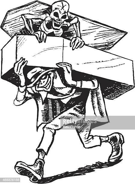 墓強盗にスケルトンや棺 - 墓堀人点のイラスト素材/クリップアート素材/マンガ素材/アイコン素材