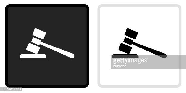 gravel icon on  black button with white rollover - mallet hand tool stock illustrations