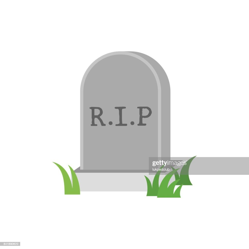 Gravestone icon with green grass, flat design vector