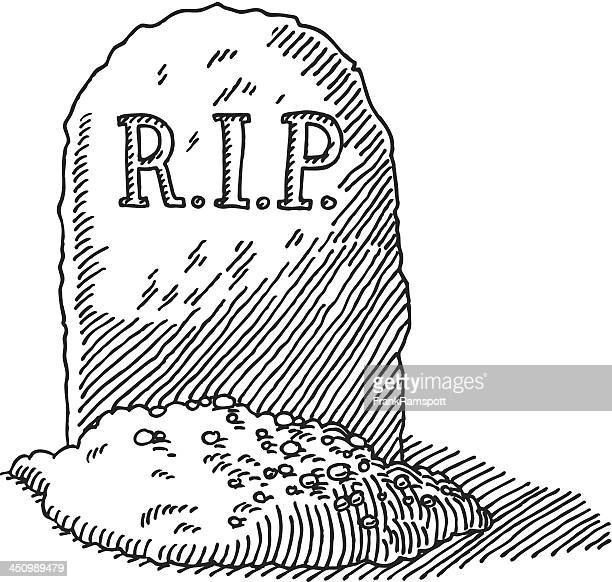 gravestone rip drawing - rest in peace stock illustrations
