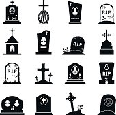 Gravestones and tombstones icons set
