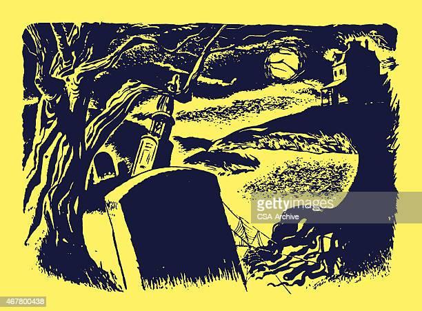 graveyard at night - grave stock illustrations, clip art, cartoons, & icons