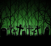 Graveyard cemetery tomb in forest