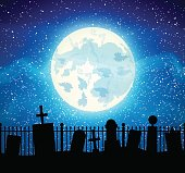 Graveyard cemetery tomb with fool moon