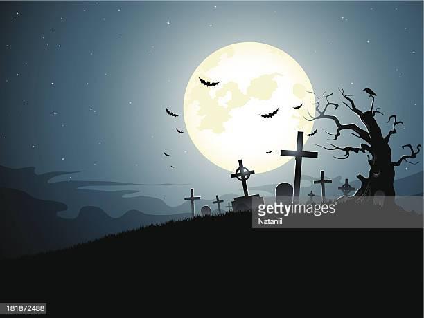 graveyard - moon stock illustrations