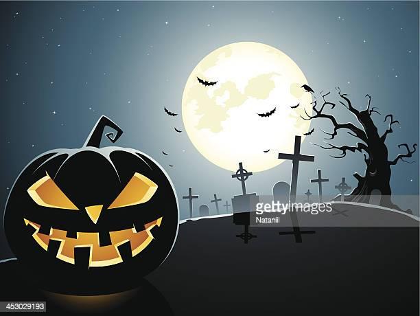 graveyard - jack o lantern stock illustrations, clip art, cartoons, & icons