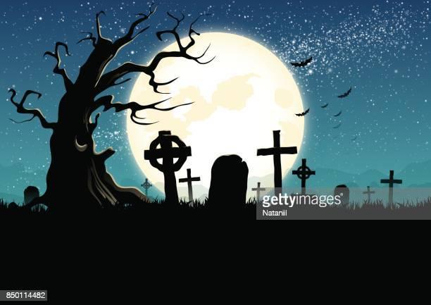 graveyard - cemetery stock illustrations