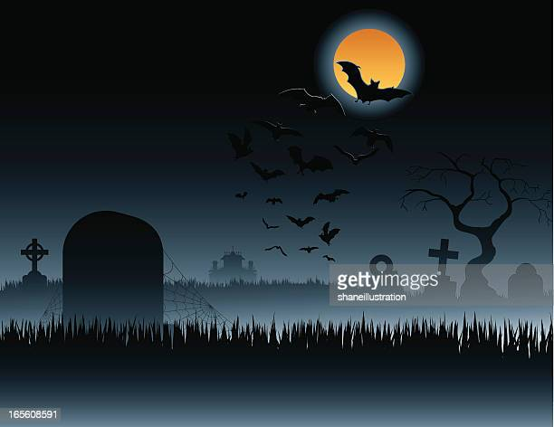 Graveyard with Bats