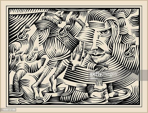 gravure with demons. pandemonium. - woodcut stock illustrations