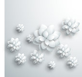 gray 3D floral pattern background