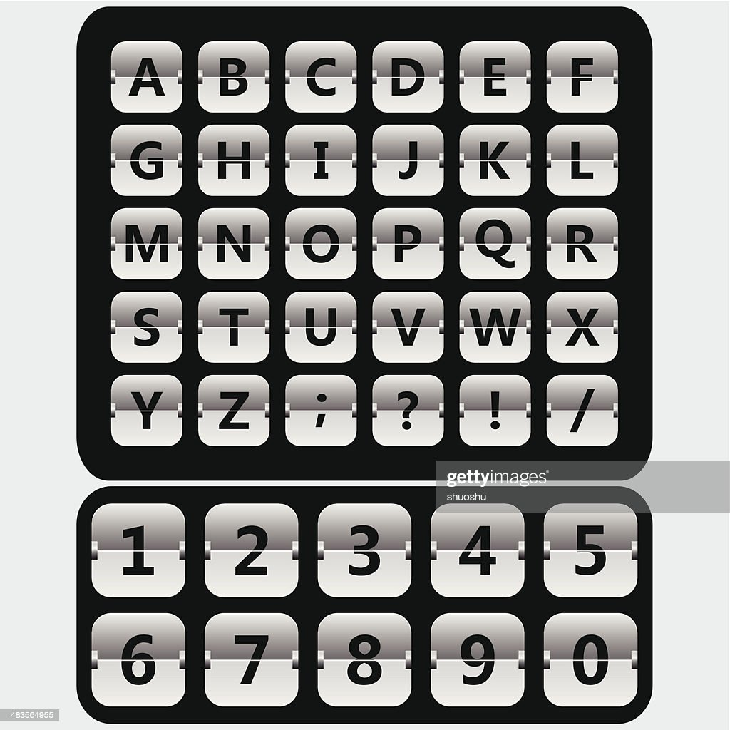 gray airport style mechanical timetable display alphabet