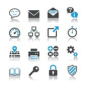 Gray and blue vector icons on a white background