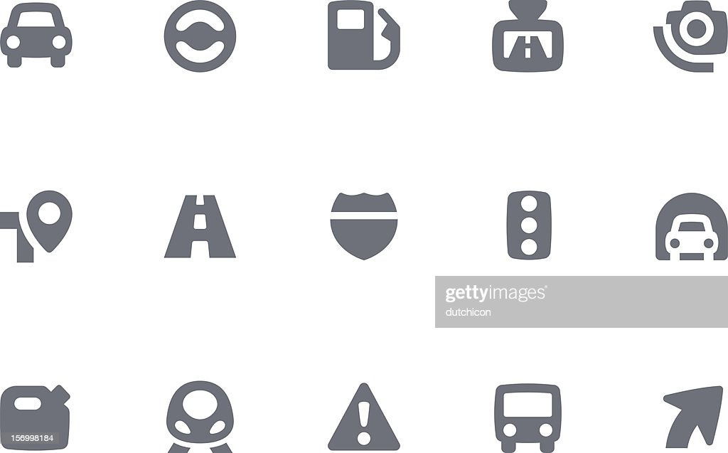 Gray and white computer traffic icons