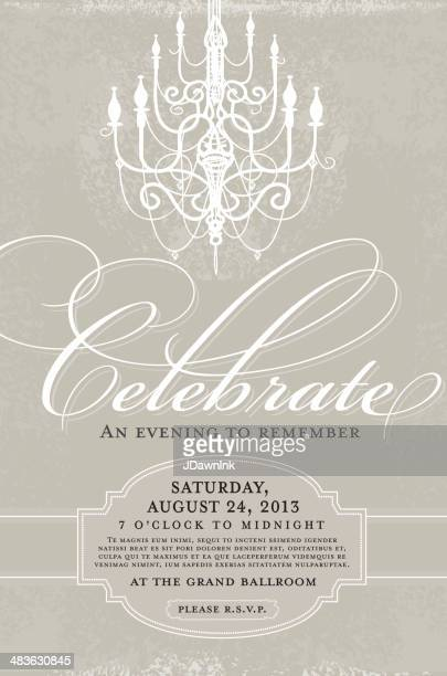 Gray and white Elegant invitation design template with chandelier
