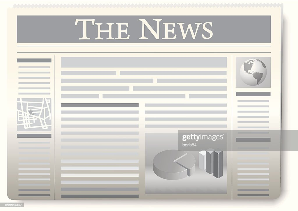 Gray and white graphic of The News paper