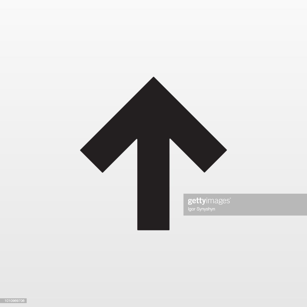 Gray Arrow up icon isolated on background. Modern simple flat upload sign. Business, internet concep