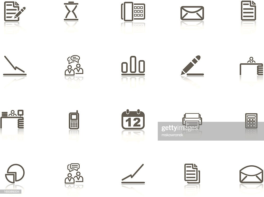 Gray Business and Office Icon Set