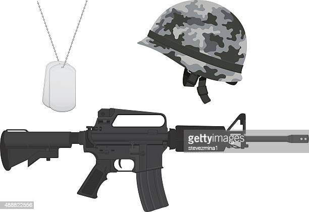 gray camouflage military helmet, machine gun, dog tags - us marine corps stock illustrations, clip art, cartoons, & icons
