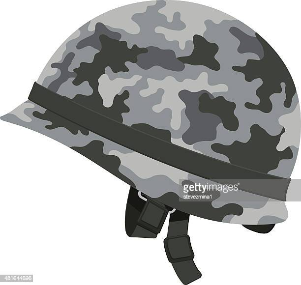 gray camouflage military helmet - us marine corps stock illustrations, clip art, cartoons, & icons