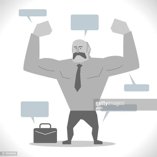 Gray Characters, active seniors, cool super strong senior adult businessman showing muscular arm (flexing muscles)