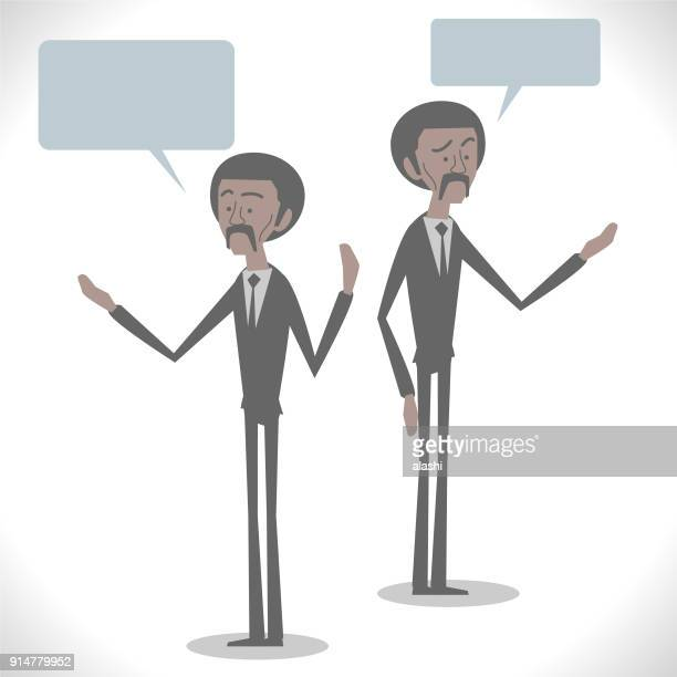 Gray Characters, Afro African-american businessman talking with two posture