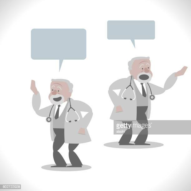 Gray Characters, senior doctor (general practitioner) talking with two posture, giving a presentation