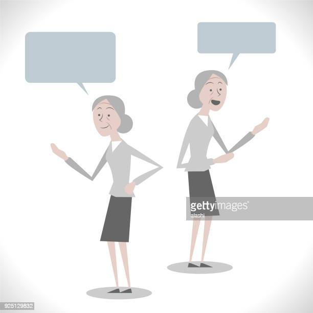 Gray Characters, senior woman talking with two posture