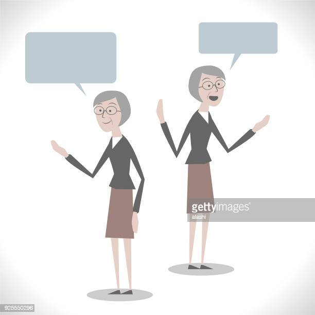 Gray Characters, senior (mid adult) woman talking with two posture