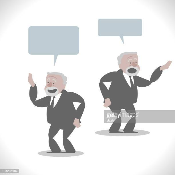 Gray Characters, short fat senior business man talking with hand on hip (two posture)