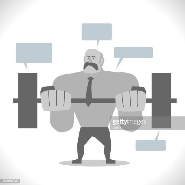 ilustraciones, imágenes clip art, dibujos animados e iconos de stock de gris caracteres halterofilia, ancianos activos, cool super fuerte empresario adulto senior peso pesado de la elevación - entrenamiento de fuerza
