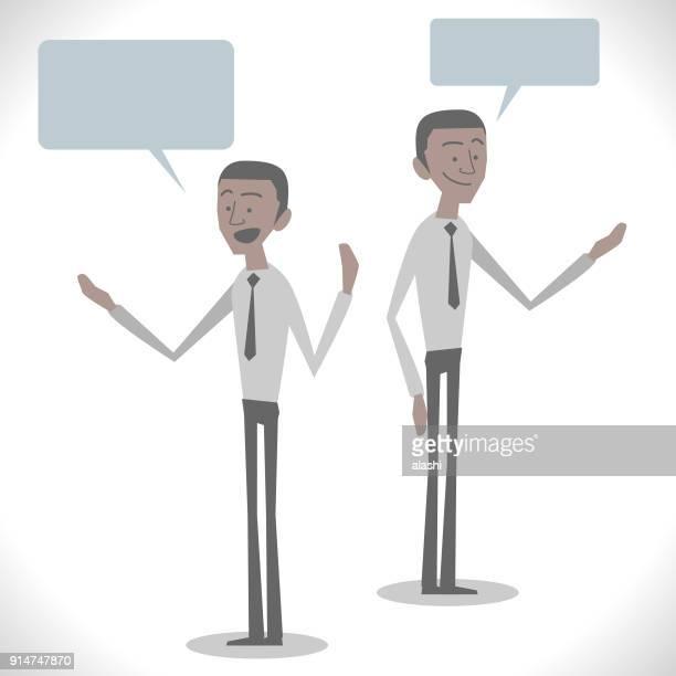 グレーの文字、2 つの姿勢と話している若いアフリカ系アメリカ人の民族性実業家