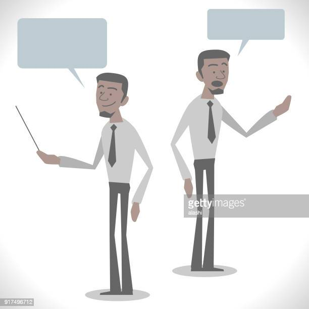 Gray Characters, young african-american ethnicity businessman talking with two posture