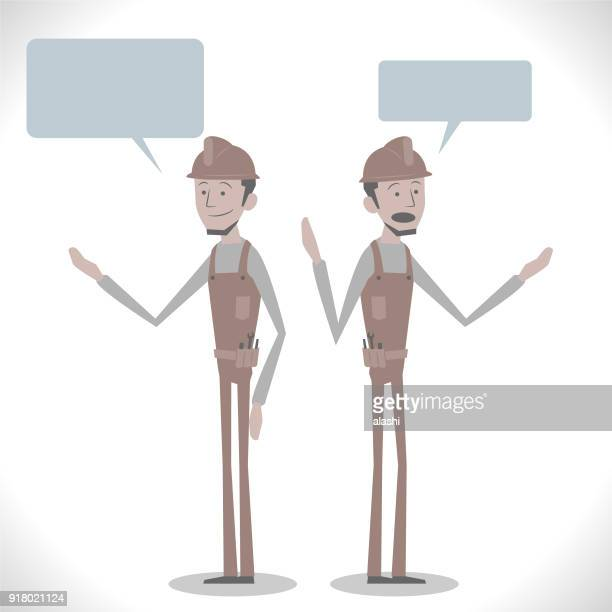 Gray Characters, young technician (construction worker) talking with two posture