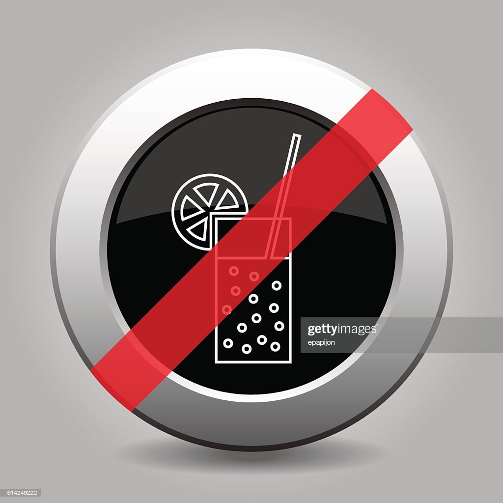gray chrome button, no glass with carbonated drink