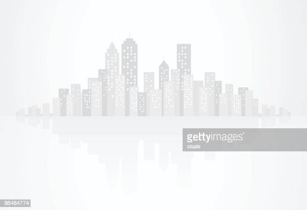 Gray City Skyline and skyscraper buildings with reflection silhouette
