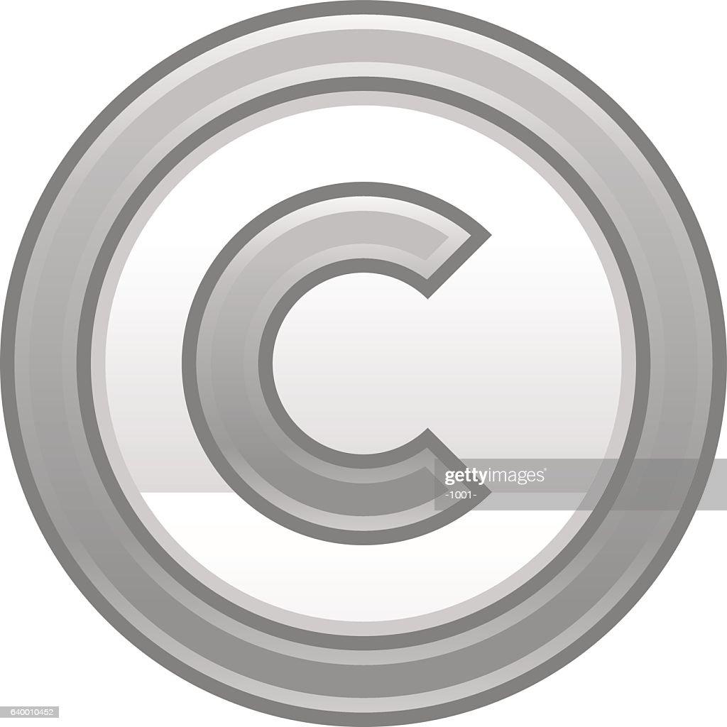 Gray Copyright Symbol Sign Matte Icon