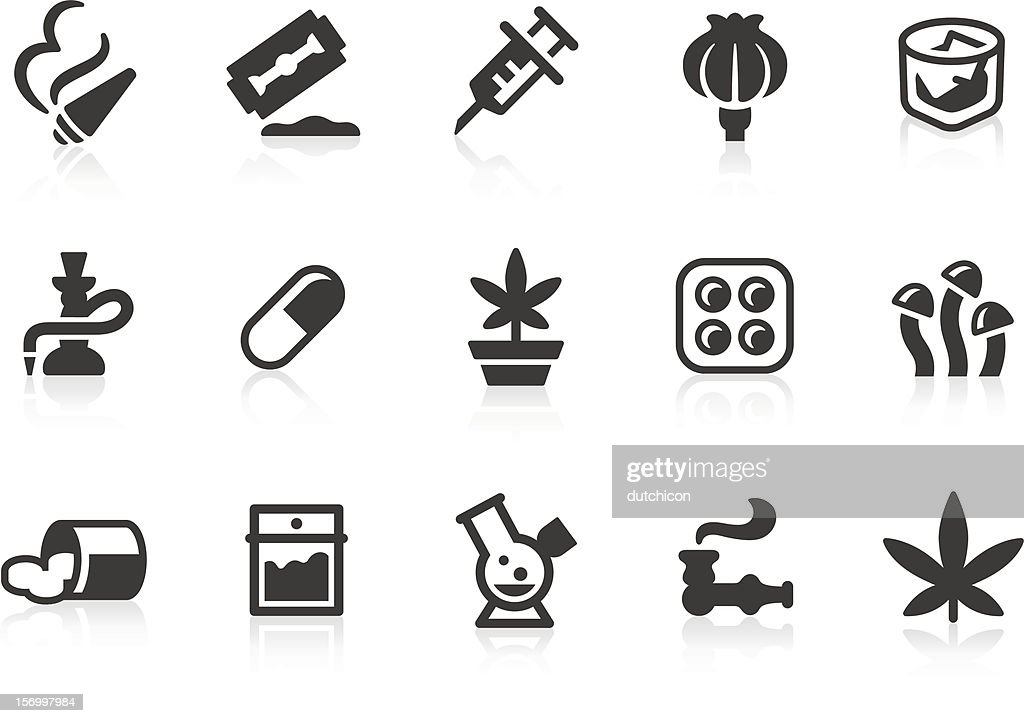 Gray drug icons on white background