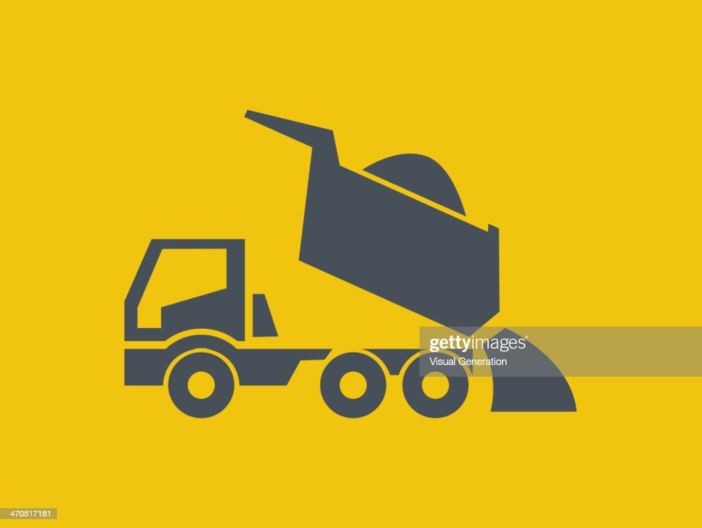 Gray dump truck construction icon with yellow background