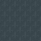 Gray fleur de lis royal lily seamless pattern