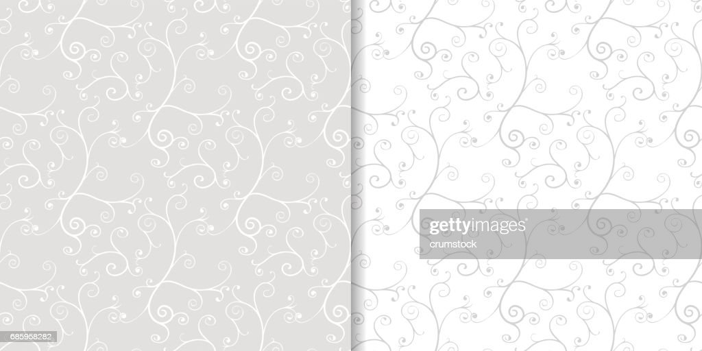 Gray flower seamless patterns. Wallpaper background