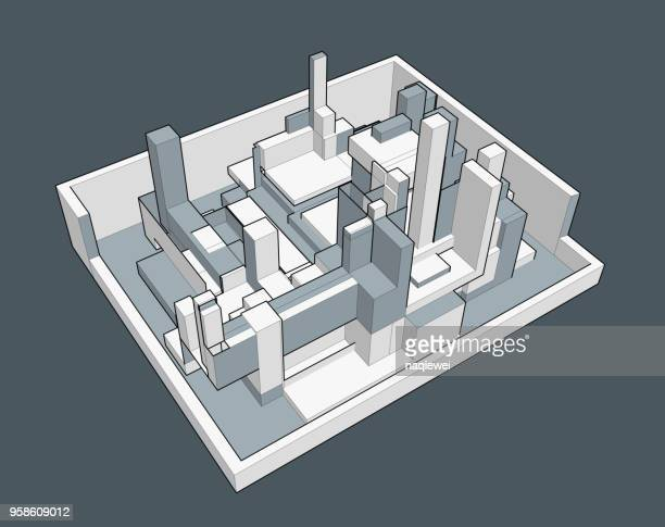 gray geometric architecture model - model to scale stock illustrations, clip art, cartoons, & icons