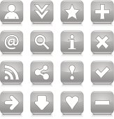 Gray glossy icon white basic sign rounded square button